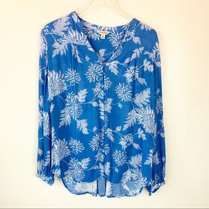 Lucky Brand | Blouse Blue floral print size Medium